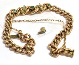 A C1900 TURQUOISE AND SEED PEARL SET BRACELET the central stone set section to hollow twisted curb