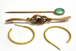 TWO ITEMS OF 9CT GOLD JEWELLERY comprising a garnet set bar brooch and a pair of half hoop earrings,