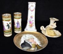 A COLLECTION OF CONTINENTAL CERAMICS comprising a pair of cylindrical Dresden vases with reticulated