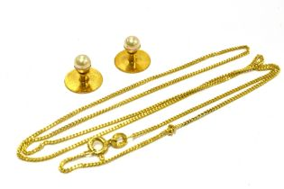 A 9CT GOLD FINE LINK CHAIN The fine curb links to bolt ring fastener, 20 inches long; together