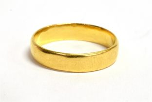 A 22CT GOLD PLAIN WEDDING BAND Of D profile, 4 mm wide, size O, gross weight 3.3 grams Condition