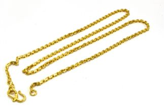 A CHINESE HIGH CARAT GOLD NECK CHAIN The square belcher links to a shepherd hook S fastener, Chinese
