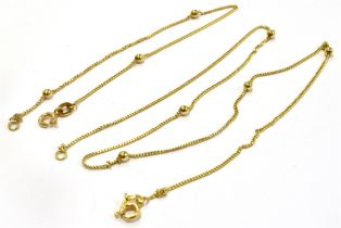 AN 18CT GOLD NECK CHAIN AND BRACELET SET The fine curb and gold bead link to bolt ring fastener,