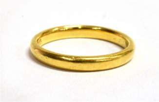 A 22CT GOLD PLAIN WEDDING BAND Of D profile, 3mm wide, size N, gross weight approx. 3.7 grams