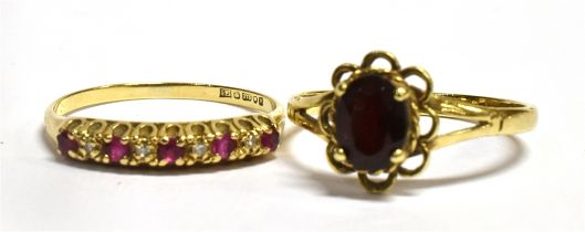 TWO 9CT GOLD DRESS RINGS One a 9 stone half hoop set with very small rubies and diamonds, size N,