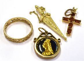 A COLLECTION OF JEWELLERY To include a marked 14KT yellow and white metal sword and scabbard pendant