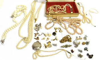 A COLLECTION OF VINTAGE COSTUME JEWELLERY Comprising of a tagged silver hexagonal small mirrored