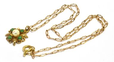 A 9CT GOLD PEARL AND STONE SET NECKLACE Comprising a central pearl set in a marked 9ct gold star