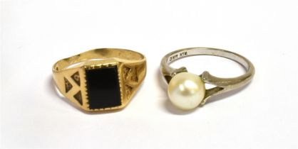 A 9CT GOLD SIGNET RING Faded hallmark and warped shank, ring size N 1/2 , weight 2grams, together