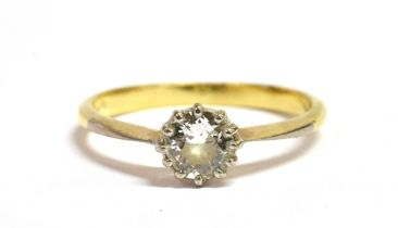 AN 18CT GOLD DIAMOND SOLITAIRE RING With the round cut diamond measuring approx. 4 mm in diameter,