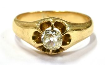 A 0.50 OLD CUT DIAMOND SET 18CT GOLD SIGNET RING the buttercup claw set front comprising a cushion