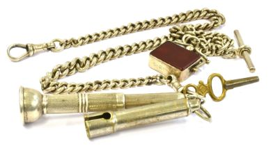 A SILVER WATCH CHAIN, T-BAR & ATTACHED SILVER SPINNER the spinner is hardstone and hallmarked