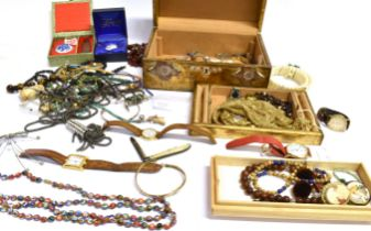 A LARGE COLLECTION OF INTERESTING COSTUME JEWELLERY To include a Victorian silver bladed pen knife