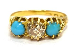 AN 18ct GOLD EUROPEAN DIAMOND AND TURQUOISE SET DRESS RING The central European diamond measuring