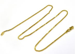 A 14KT YELLOW METAL BOX LINK NECKLACE Marked, ITALY 14KT, approx. 39cm long, weight including