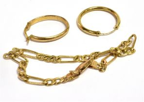 A 9CT GOLD FIGARO CHAIN LINK BRACELET Weight 3 grams together with a single 9ct gold hoop earring