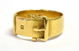 A VICTORIAN 18CT GOLD BUCKLE AND BELT RING Hallmarked for London 1881, ring size O weight approx.