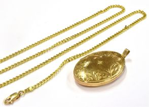 A 9CT GOLD LOCKET AND CHAIN the large 9ct gold oval locket, star set with white stone and engraved