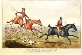AFTER HENRY ALKEN A set of six hand coloured fox hunting engravings: 'Going to Cover', 'Breaking