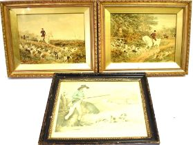 AFTER HEYWOOD HARDY 'Gone to Cover' & 'Hounds Fethering' A pair of colour prints, titled Verso 16.
