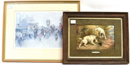 MANNER OF FRANK PATON Too Late! Terriers Rabbiting, colour print, 15 X 24cm, and After Gilbert