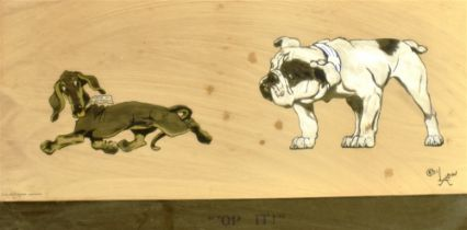 AFTER CECIL ALDIN ''OP IT!' A humerous colour print, titled on the Mount, 30 cm x 55 cm, including