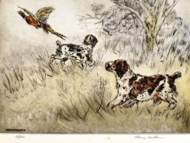 HENRY WILKINSON (1921-2011) Two spaniels flushing out a pheasant Coloured etching Signed in pencil