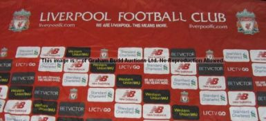 Club partners/sponsors backdrop used in the Press Conference Room at Liverpool Football Club's