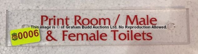 Clear acrylic PRINT ROOM / MALE & FEMALE TOILETS door sign from the Captains Corridor at Liverpool