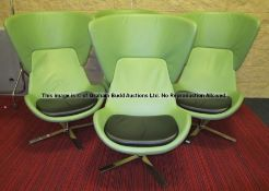 Four matching pea-green leather swivel-base armchairs from the Players' and Staff Canteenat