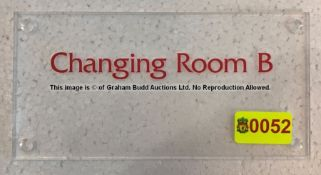 Clear acrylic CHANGING ROOM B door sign from the Changing Rooms Corridor at Liverpool Football
