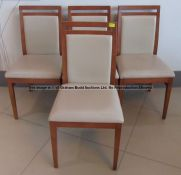 Four matching wooden dining chairs from the Players' and Staff Canteen at Liverpool Football Club'