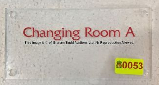 Clear acrylic CHANGING ROOM A door sign from the Changing Rooms Corridor at Liverpool Football