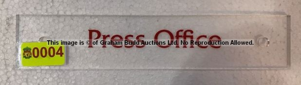Clear acrylic PRESS OFFICE door sign from the Captains' Corridor at Liverpool Football Club's