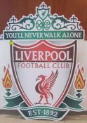 Large metal LFC colour crest from the Press Conference Room at Liverpool Football Club's Melwood