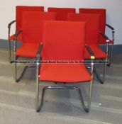 Six matching red upholstered audience chairs from the Press Conference Room at Liverpool Football