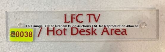 Clear acrylic LFC TV / HOT DESK AREA entrance door sign from the Main Reception Area at Liverpool