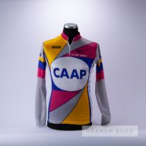 1980 pink, grey, yellow and blue Canadian CAAP Cycling race jersey, scarce, polyester long-sleeved