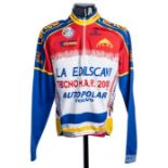 2000 red, yellow, blue and white De Marchi Cycling race jersey, scarce, polyester long-sleeved