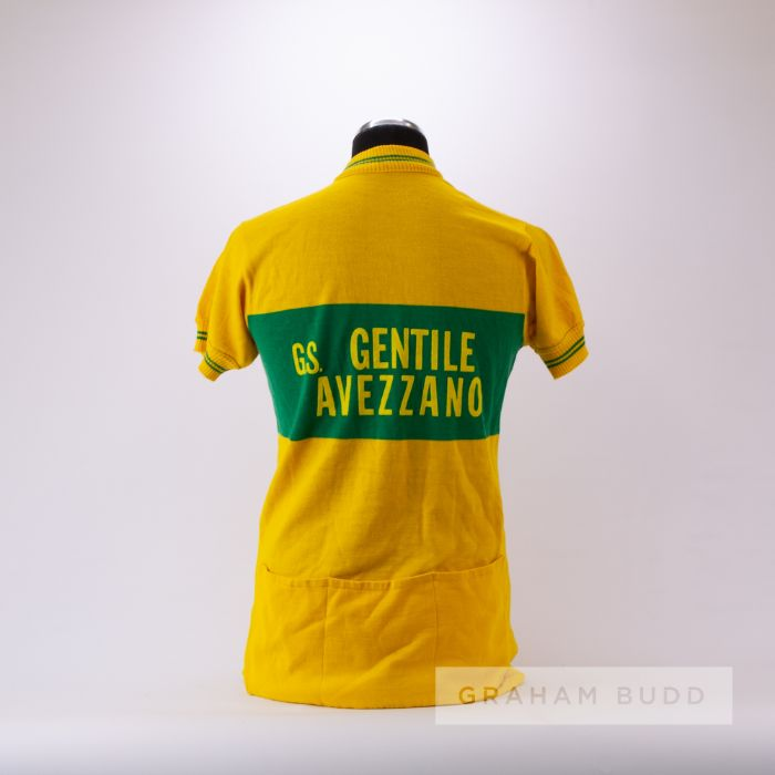 1975 yellow and green vintage Avezzano Cycling race jersey, scarce, wool and acrylic short-sleeved - Image 2 of 4