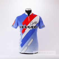 1985 white, red and blue Peugeot Cycles Cycling team race jersey, scarce, polyester short-sleeved