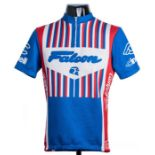 1982 blue, red and white Falcon Cinelli Campagnolo Cycling race jersey, scarce, synthetic short-