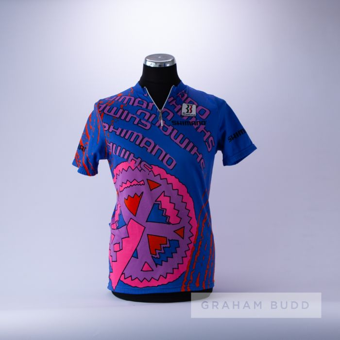 1990 blue, pink, purple and red Shimano Biemme Cycling race jersey, scarce, polyester and tactel