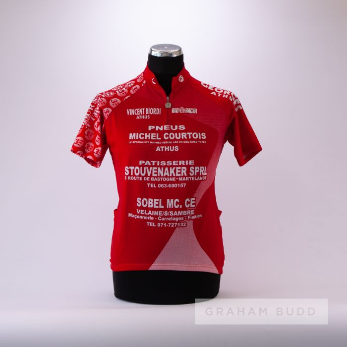 1992 red and white Belgium Cycling team race jersey, scarce, polyester short-sleeved jersey with