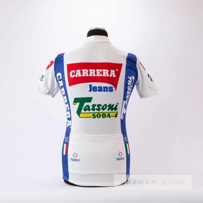 1992 white, red and blue Italian Carrera Jeans Denim Cycling team race jersey, scarce, synthetic - Image 2 of 4