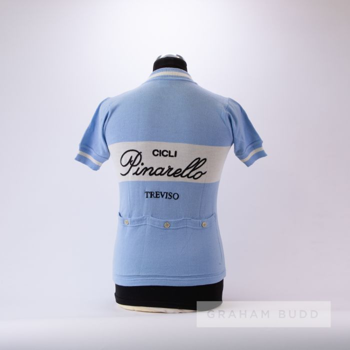 1970s light blue and white vintage Cicli Pinarello Cycling race jersey, scarce, wool short-sleeved - Image 2 of 4