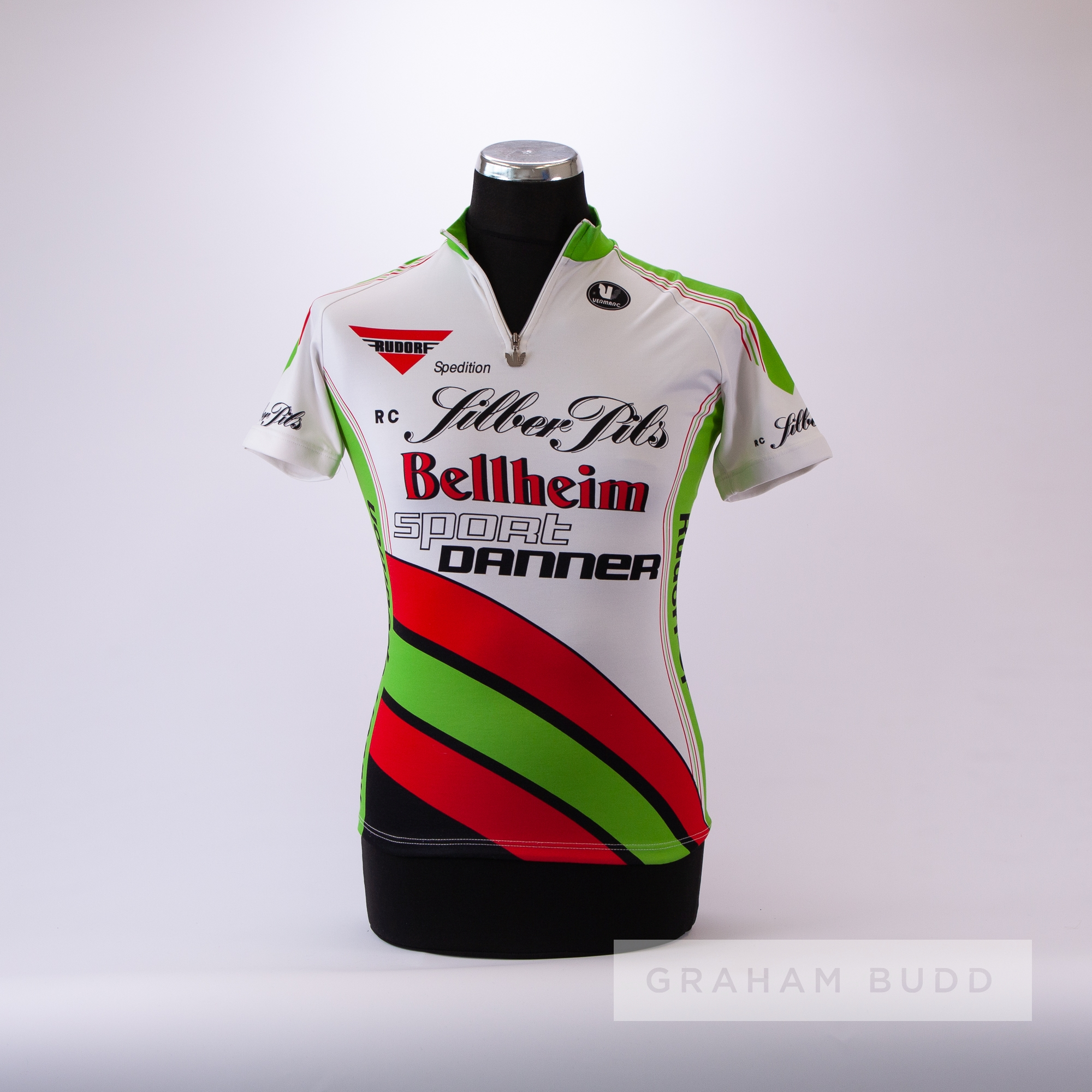 1995 white, red, green and black Vermarc Bellheim Euro Cycling race jersey, scarce, polyester - Image 3 of 4