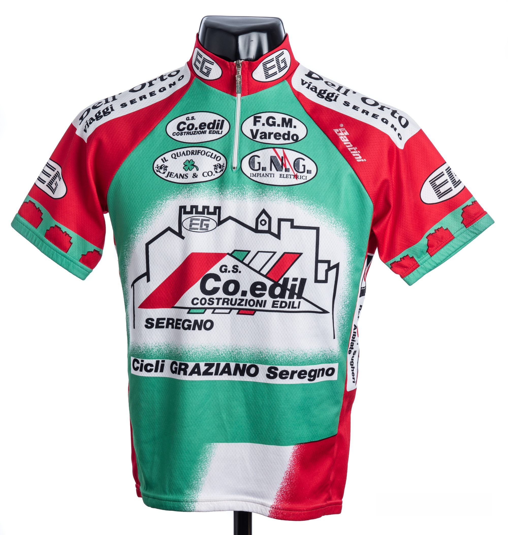 1998 red, green and white Italian Santini FGM Varedo Cycling race jersey, scarce, polyester and - Image 3 of 4
