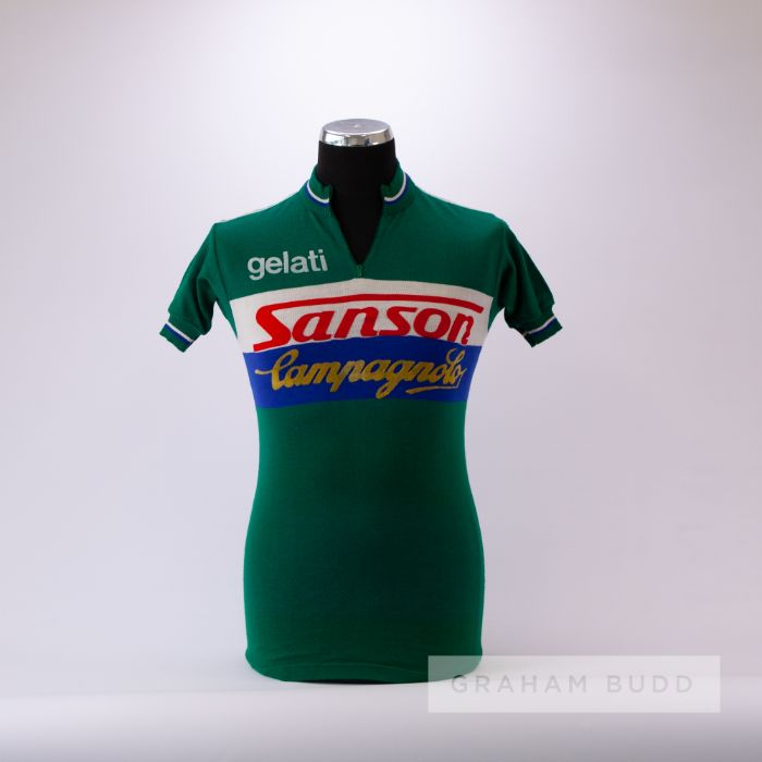 1970s green, white and blue vintage Sanson Campagnolo Cycling team race jersey, scarce, wool and