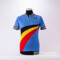 1993 blue, black, yellow and red Vermarc Belgium Cycling race jersey, scarce, polyester and cotton